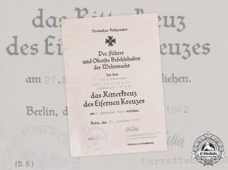 Germany, Kriegsmarine. A Preliminary Knight's Cross Document to U-172 Kapitänleutnant Carl Emmermann