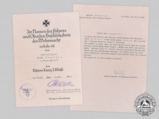 Germany, Wehrmacht. A Lot of Award Documents to Heinz Hampel (KIA)