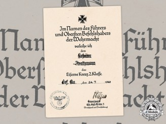 Germany, Luftwaffe. An Iron Cross II Class Award Document To Gefreiter Strathmann