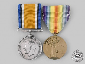 Canada, CEF. A Medal Pair, 78th Infantry Battalion, Gassed 1918