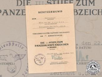Germany, Heer. A Panzer Badge III Grade Award Document For Oberleutnant Erwin Von Der Lancken