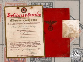 Germany, NSDAP. A Golden Party Badge Document & Membership Book, 1936