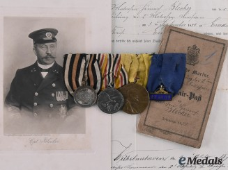 Prussia, Kingdom. A Medal Bar & Documents of Naval Captain Heinrich Johannes Bleeker