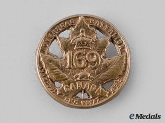 "Canada, CEF. A 169th Infantry Battalion ""109th Regiment"" Cap Badge, c.1916"