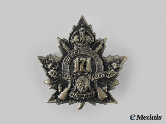 "Canada, CEF. A 171st Infantry Battalion ""The Quebec Rifles"" Cap Badge"