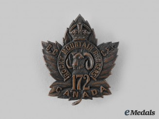 "Canada, CEF. A 172nd Infantry Battalion ""Rocky Mountain Rangers"" Officer's Cap Badge"