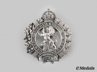 "Canada, CEF. A 174th Infantry Battalion ""Cameron Highlanders of Canada"" Glengarry Badge"