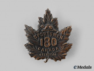 "Canada, CEF. A 180th Infantry Battalion ""Sportsmen Battalion"" Cap Badge"