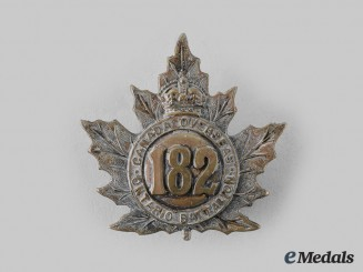 "Canada, CEF. A 182nd Infantry Battalion ""Ontario County Battalion"" Cap Badge, by Ellis Bros"