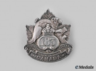 "Canada, CEF. A 183rd Infantry Battalion ""Manitoba Beavers"" Officer's Cap Badge, by Dingwall"