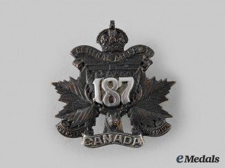 "Canada, CEF. A 187th Infantry Battalion ""Central Alberta"" Officer's Cap Badge, by D.E. Black, c.1915"