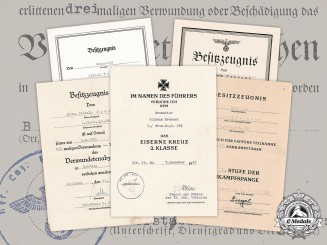 Germany, Heer. An Award Document Collection To Infantry Gefreiter Wilhelm Prerost (EK2)