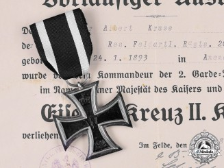 Germany, Imperial. A 1914 Iron Cross II Class with Award Document to Albert Kruse