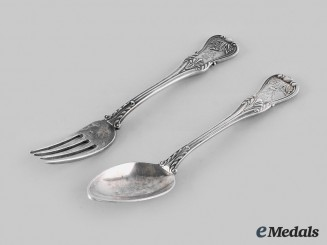 Germany, Imperial. A Set of Kaiser Wilhelm II Silver Cutlery