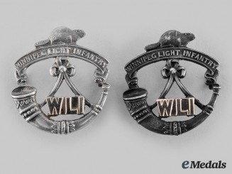 Canada, CEF. Two Winnipeg Light Infantry Officer's Collar Badges
