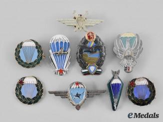 International. A Lot of Nine Eastern European Parachutist Badges
