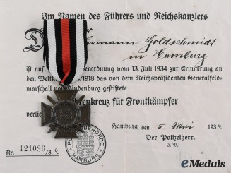 Germany, Third Reich. An Honour Cross of the World War 1914/1918, with Award Document to Hermann Goldschmidt, c. 1936