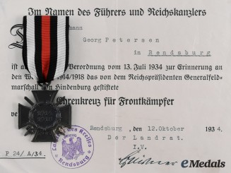 Germany, Third Reich. An Honour Cross of the World War 1914/1918, with Award Document to Georg Petersen