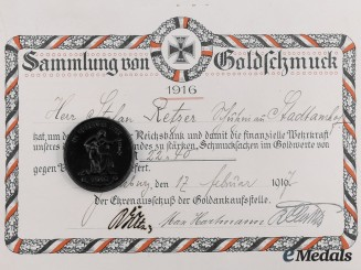 Germany, Imperial. A Reichsbank Medal for Jewelry with Document to Stefan Retzer