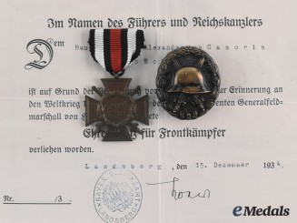 Germany, Imperial. A Lot of Documents & Awards to Captain Alexander von Cancrin, c.1925