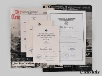 Germany, Kriegsmarine. A Lot of Award Documents to Wilhelm Westhoff, Prinz Eugen Crew