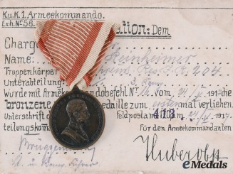 Austria, Imperial. A Medal for Bravery with Award Document to Grenadier Aotam Reinheimer, c. 1917