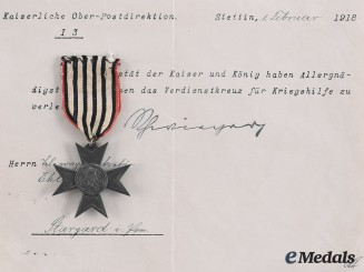 Prussia, Imperial. A Merit Cross for War Aid with Document to Belegwaghensekretär Ehlert