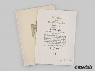Germany, Heer. A Promotion Document for Hauptmann Karl Arnold, General Walther von Brauchitsch Signature