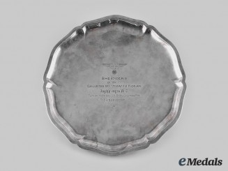 Germany, NSDAP. A 1938 Gau Düsseldorf Mounted SA Tournament Commemorative Silver Plate, by August Ressing