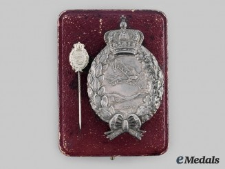 Bavaria, Kingdom. A Pilot's Badge in Silver, with Stickpin and Case, by Karl Poellath of Schrobenhausen