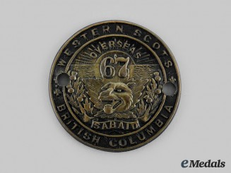 """Canada, CEF. A 67th Infantry Battalion """"Western Scots"""" Glengarry Badge, c.1915"""