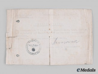 Germany, Kriegsmarine. A Pair of Documents to Heinrich Timm, Seehund U-Boat 055 Crew