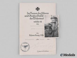 Germany, Kriegsmarine. An EK I Award Document, Signed by Dönitz