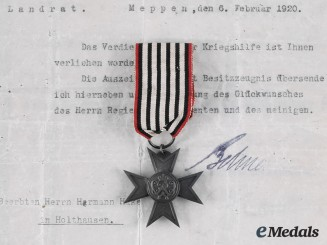 Prussia, Imperial. A Merit Cross for War Aid with Documents to Hermann Hake