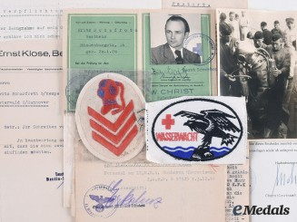 Germany, Kriegsmarine. Documents and Insignia to Friedrich Schafroth, Tirpitz Diver