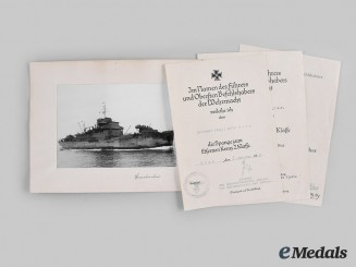 Germany, Kriegsmarine. A Lot of Award Documents, Guse & Rogge Signed