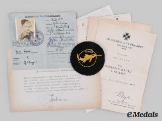 Germany, Kriegsmarine. A Lot of Awards & Documents, Small Unit War Badge