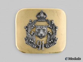 Canada, Dominon. A 91st Regiment Canadian Highlanders Belt Buckle