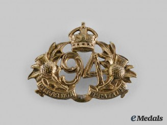 Canada, CEF. A 94th Victoria Regiment (Argyll Highlanders) Collar Badge, 1904 Design