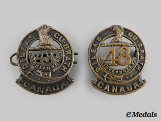 "Canada, CEF. Two 15th Infantry Battalion ""48th Highlanders of Canada"" Collar Badges"