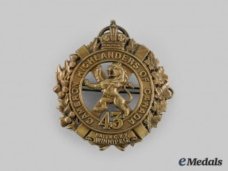 "Canada, CEF. A 43rd Infantry Battalion ""Cameron Highlanders"" Glengarry Badge"
