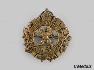 "Canada, CEF. A 43rd Infantry Battalion ""Cameron Highlanders"" Glengarry Badge"