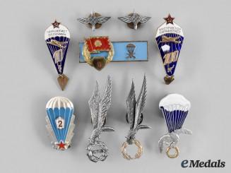 Czechoslovakia, Hungary, Poland, Russia. Lot of Nine Eastern European Parachutist Badges