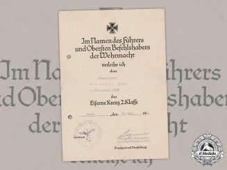 Germany, Heer. An EK2 Document To Defender Of Normandy, Signed By Oak Leaves Recipient Oberst Pietzonka