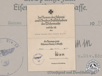 Germany, Heer. A Clasp To The Iron Cross 2nd Class Document,  Pionier Battalion 157, 1939