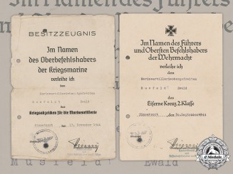 Germany, Kriegsmarine. Two Award Documents To Navy Artillery Hauptgefreiter Ewald Musfeldt, 1944