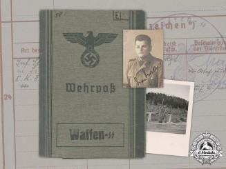 """Germany, Waffen-SS. A Wehrpaß To Ethnic German SS-Junker Erwin Ellmer (EK2), Regiment """"Prinz Eugen"""""""