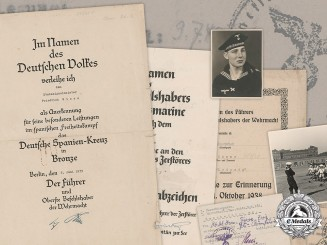 Germany, Kriegsmarine. A Collection Of Documents To Signals NCO Friedrich Giese (EK2, Spanish Cross)