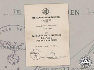 Germany, Heer. A War Merit Cross II Class with Swords Award Document, Signed By DKiS Winner Generalleutnant Richard Wirtz, 1944