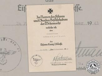 Germany, Heer. An Iron Cross II Class Document, Signed By Generalmajor Alexander von Hartmann (KIA Stalingrad)